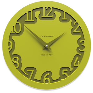 Picture of CALLEA DESIGN MODERN WALL CLOCK LABYRINTH CEDAR GREEN