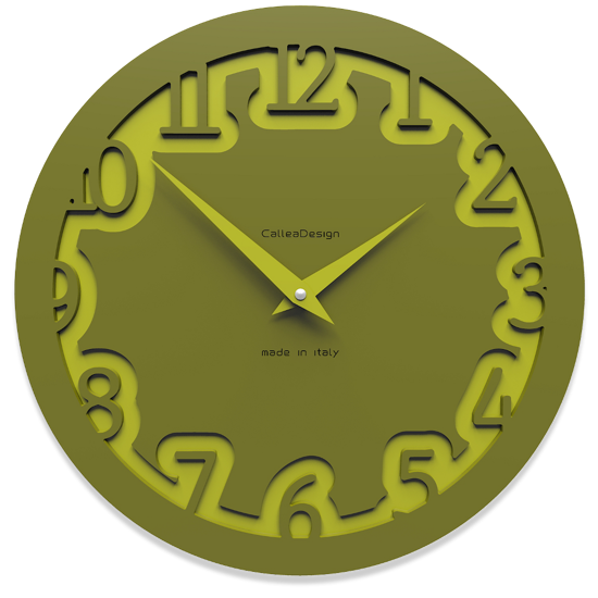 Picture of CALLEA DESIGN MODERN WALL CLOCK LABYRINTH OLIVE GREEN
