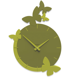 Picture of CALLEA DESIGN MODERN WALL CLOCK BUTTERFLIES FLIGHT OLIVE GREEN