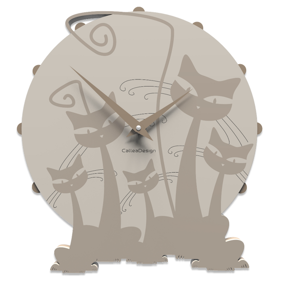 Picture of CALLEA DESIGN MODERN WALL CLOCK WITH 3 CATS DOVE GREY