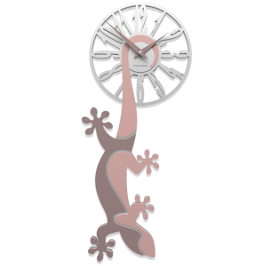 Picture of CALLEA DESIGN HANGING GECKO MODERN WALL CLOCK ANTIQUE PINK