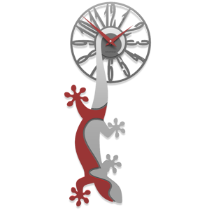 Picture of CALLEA DESIGN HANGING GECKO MODERN WALL CLOCK RUBY