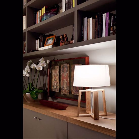 Picture of FARO TABLE LAMP BLISS IN WOOD AND WHITE SHADE