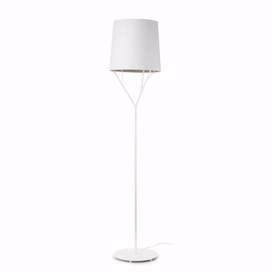 Picture of FARO TREE WHITE FLOOR LAMP WITH WHITE SHADE