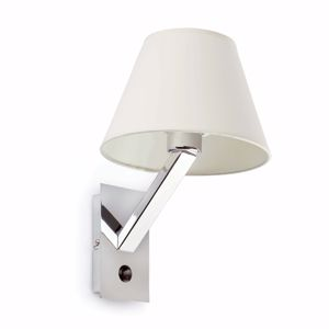Picture of BEDSIDE LED WALL LIGHT IN CHROME METAL WITH WHITE SHADE