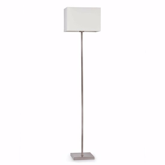 Picture of FARO THANA NICKEL FLOOR LAMP WITH WHITE FABRIC SHADE