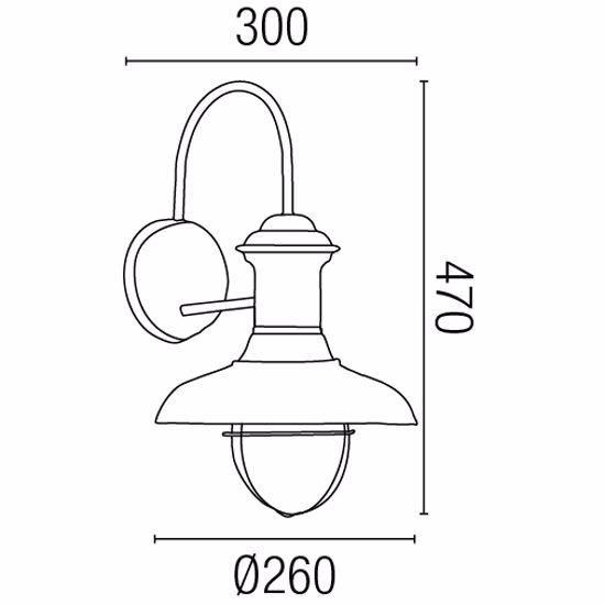 Picture of FARO ESTORIL RUSTIC OUTDOOR WALL LAMP BROWN Ø26CM
