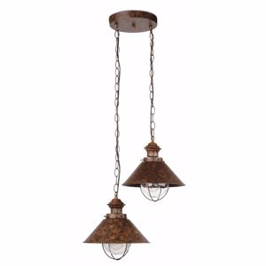 Picture of FARO NAUTICA RUSTIC OUTDOOR PENDANT LAMP 2 LANTERNS IN BROWN METAL