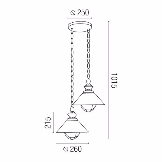 Picture of FARO NAUTICA RUSTIC OUTDOOR PENDANT LAMP 2 LANTERNS IN BROWN METAL