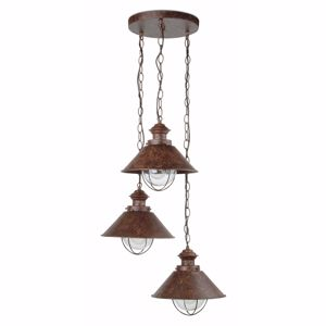Picture of FARO NAUTICA RUSTIC OUTDOOR PENDANT LAMP 3 LANTERNS IN BROWN METAL