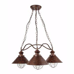 Picture of FARO NAUTICA RUSTIC OUTDOOR PENDANT LAMP 3 LIGHTS IN BROWN METAL