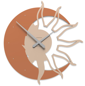 Picture of CALLEA DESIGN MODERN WALL CLOCK SUN & MOON TERRACOTTA