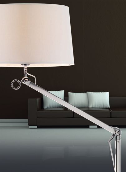 Picture of ADJUSTABLE FLOOR LAMP CHROME WITH FABRIC SHADE