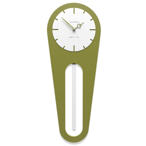 Picture of CALLEA DESIGN MODERN WALL CLOCK PENDULUM SALLY OLIVE GREEN