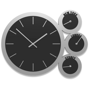 Picture of WALL CLOCK TIME ZONES BLACK AND GREY