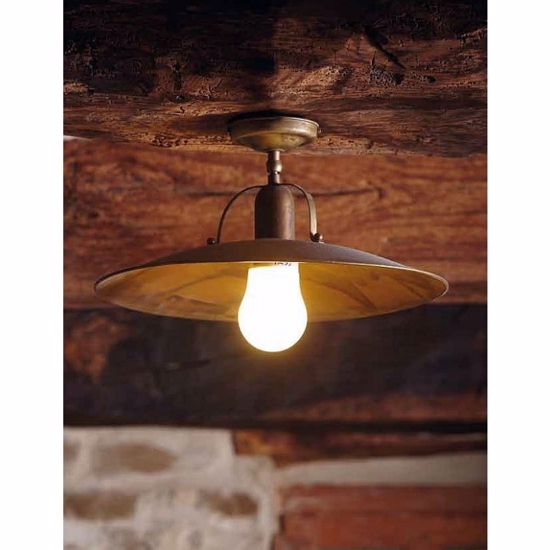 Picture of GIBAS OSTERIA CM39 RUSTIC CEILING LAM IN BRASS