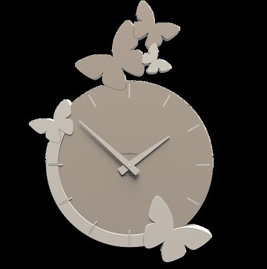 Picture of CALLEA DESIGN MODERN WALL CLOCK BUTTERFLIES FLIGHT DOVE GREY