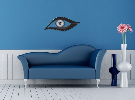 Picture of CALLEA DESIGN POWDER BLUE MODERN WALL CLOCK EYE IN MDF