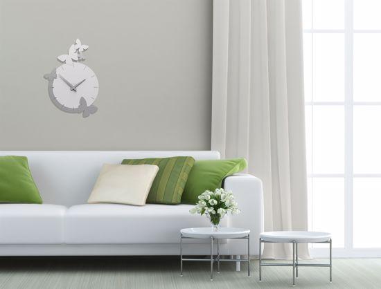 Picture of CALLEA DESIGN MODERN WALL CLOCK BUTTERFLIES FLIGHT WHITE