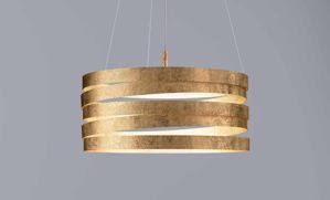 Picture of MARCHETTI BAND SUSPENSION GOLD LEAF IN METAL 50CM 3 LIGHTS