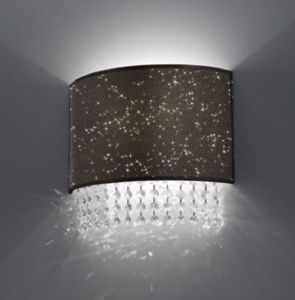 Picture of ANTEA LUCE GLITTER  DOVE GREY TEXTILE WALL LIGHT WUTH CRYSTALS