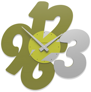 Picture of CALLEA DESIGN TRANSPARENCIES MODERN WALL CLOCK OLIVE GREEN