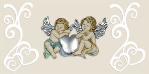 Picture of MEMORY ART ABOVE BED COLORED ANGELS IVORY BOTTOM