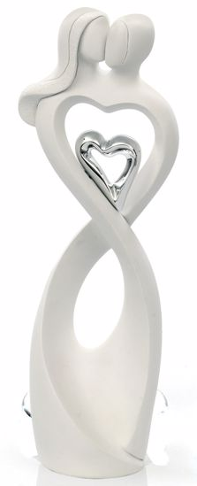 Picture of MEMORY SCULPTURE LOVERS HEART WHITE