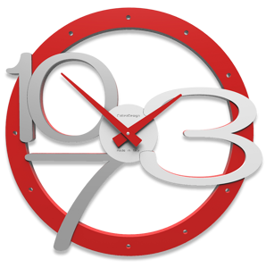 Picture of CALLEA DESIGN MODERN WALL CLOCK SCARLETT RED COLOR