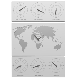 Picture of CALLEA DESIGN V-COSMO WALL CLOCK FOR OFFICE WHITE PLANISPHERE TIME ZONES