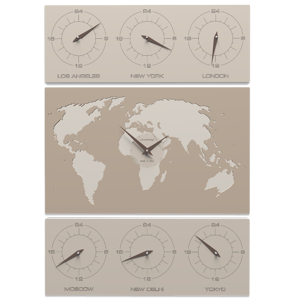 Picture of CALLEA DESIGN V-COSMO WALL CLOCK FOR OFFICE CAFFELATTE  PLANISPHERE TIME ZONES