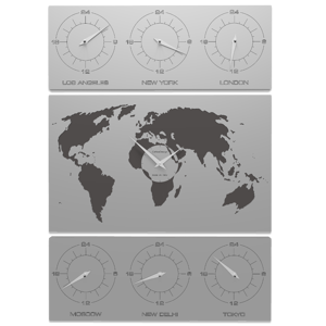 Picture of CALLEA DESIGN V-COSMO WALL CLOCK FOR OFFICE PLANISPHERE TIME ZONES