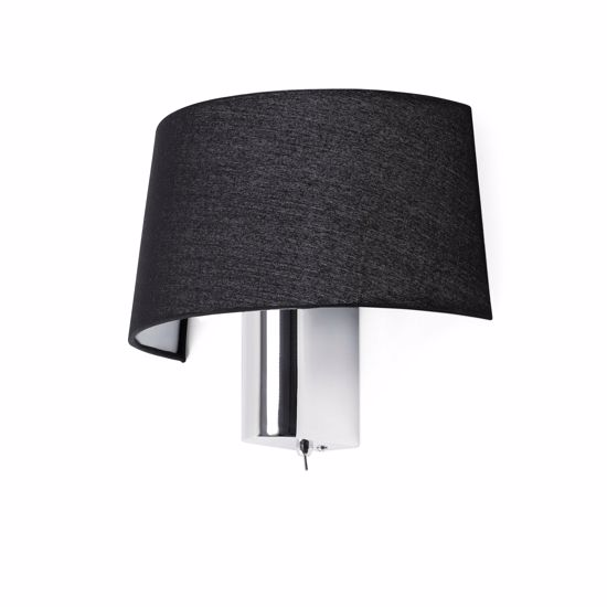 Picture of FARO HOTEL WALL LAMP BALCK FABRIC METAL CHROME