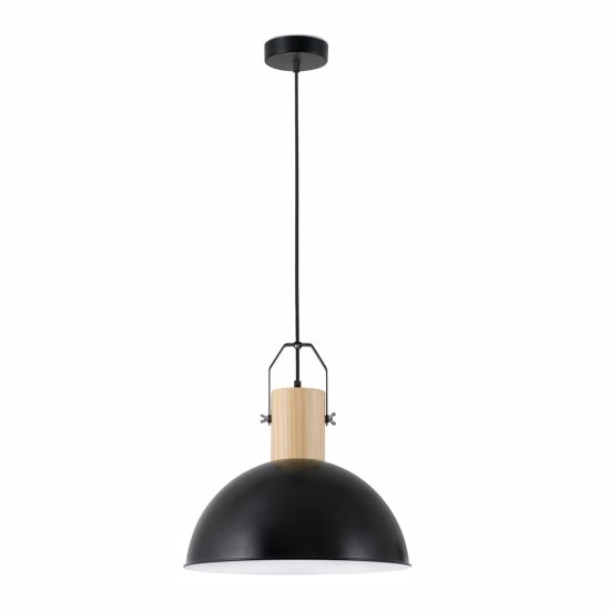 Picture of FARO MARGOT SUSPENDED DOME BLACK METAL AND PALE WOOD