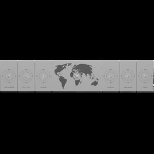 Picture of CALLEA DESIGN COSMO WALL CLOCK OFFICE ALUMINUM PLANISPHERE TIME ZONES