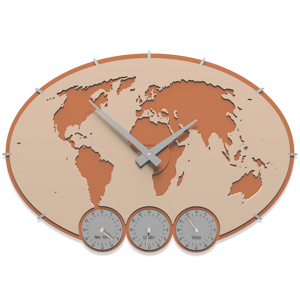 Picture of CALLEA DESIGN GREENWICH WALL CLOCK PLANISPHERE WITH TIME ZONES PINK SAND COLOUR