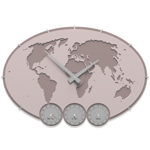 Picture of CALLEA DESIGN GREENWICH WALL CLOCK PLANISPHERE WITH TIME ZONES PINK SHELL COLOUR
