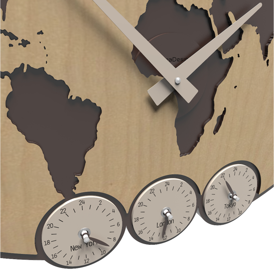Picture of CALLEA DESIGN GREENWICH WALL CLOCK PLANISPHERE WITH TIME ZONES LIGHT WALNUT