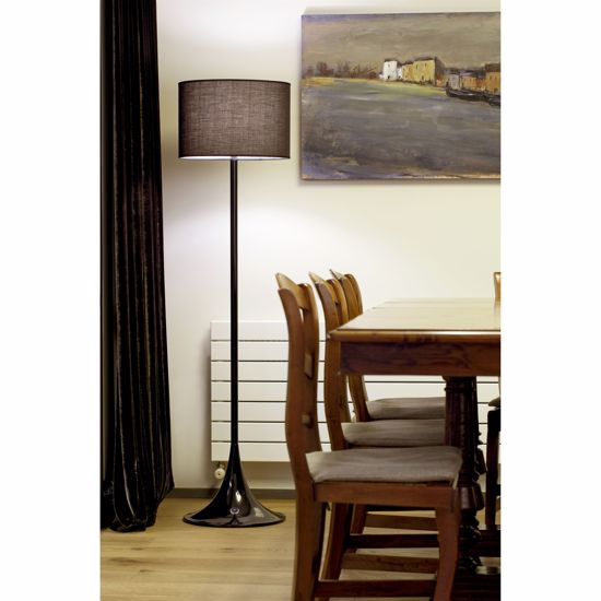 Picture of FARO FLOOR LAMP IN SHINY BLACK METAL WITH ROUND BLACK SHADE