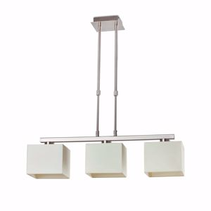 Picture of PENDANT LIGHT WITH THREE SQUARED WHITE LAMPSHADES MATT NICKEL METAL STRUCTURE