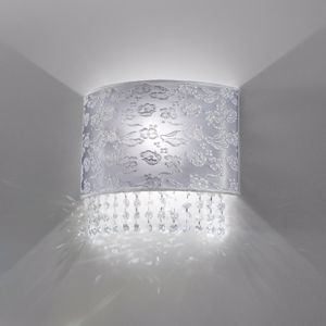 Picture of ANTEA LUCE VIOLETTA WALL LAMP FABRIC WITH LACE PEARL GREY AND CRYSTAL