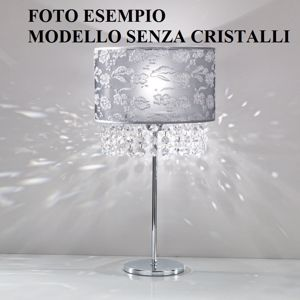 Picture of ANTEA LUCE VIOLETTA TABLE LAMP WITHOUT CRYSTAL FABRIC WITH LACE PEARL GREY