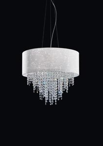 Picture of ANTEA LUCE GLITTER PENDANT Ø75 WHITE FABRIC WITH CRYSTALS
