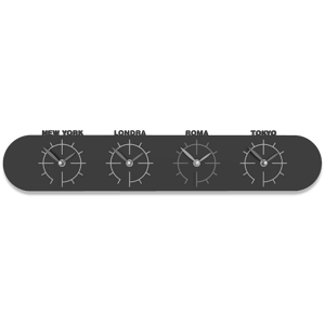 Picture of CALLEA DESIGN SINGAPORE WALL CLOCK IN WOOD WITH TIME ZONES BLACK