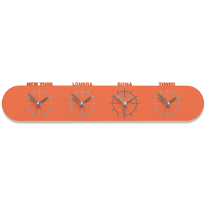 Picture of CALLEA DESIGN SINGAPORE WALL CLOCK IN WOOD WITH TIME ZONES ORANGE