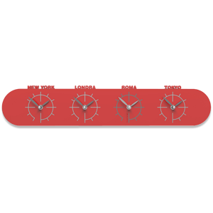 Picture of CALLEA DESIGN SINGAPORE WALL CLOCK IN WOOD WITH TIME ZONES RED