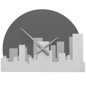 Picture of CALLEA DESIGN SKYLINE WALL CLOCK WHITE GREY