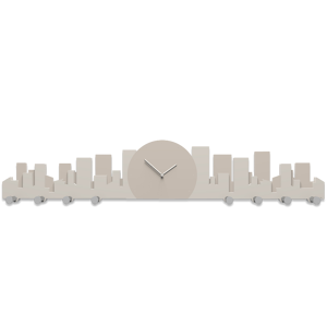 Picture of CALLEA DESIGN SKYLINE WALL CLOCK WITH HOOKS SKYSCRAPERS DOVE GREY