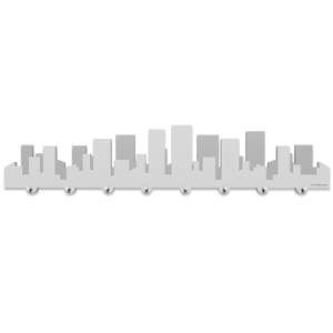 Picture of CALLEA DESIGN SKYLINE METROPOLIS WALL KEY HOLDER WHITE AND GREY