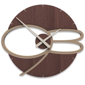 Picture of CALLEA DESIGN MAX MODERN WALL CLOCK WOOD IN WENGE OAK COLOUR